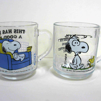 Vintage Snoopy Mugs - Two Snoopy Mugs - Arcoroc Snoopy - Retro Snoopy Mugs - Rare Snoopy Mugs - Snoopy and Woodstock - Snoopy Memorabilia