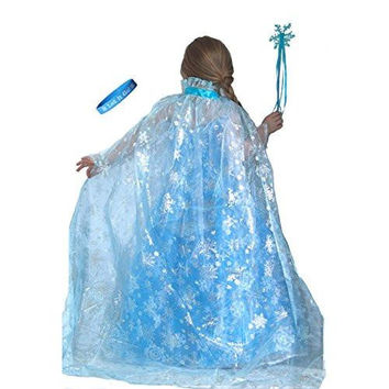 "Frozen Inspired Shimmering Elsa Snowflake Cape with Wand & ""Let It Go"" Band"