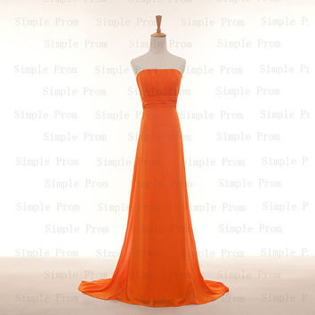 Custom A-line Strapless Sleeveless Floor-length Chiffon Pleated Fashion Prom Dress Bridesmaid Dress Formal Evening Dress Party Dress 2013