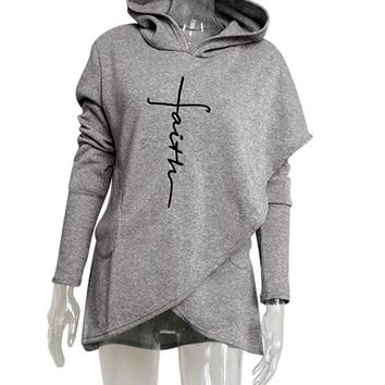 "New Grey ""Faith"" Letter Print Irregular Pockets Long Sleeve Fashion Hooded Sweatshirt"