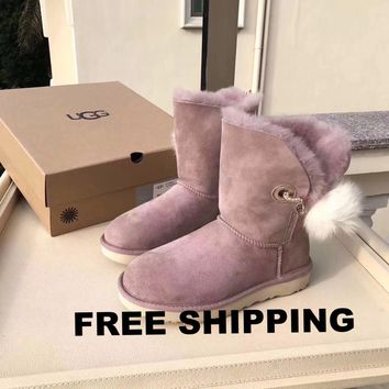 [FREE SHIPPING] Australia UGG Women's Dusk Shoes Boot Irina Swarovski ? Pin Pom Limited Edition Snoot Boots 1017502