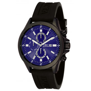 Invicta 1840 Men's Specialty Sport Blue Dial Black Rubber Strap Multifunction Watch
