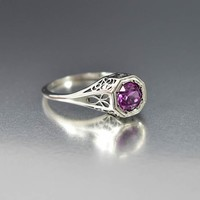 Art Deco Style Silver Color Change Sapphire Ring