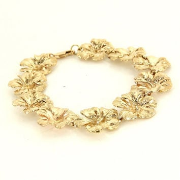 Vintage 14 Karat Yellow Gold Hibiscus Flower Charm Bracelet Fine Estate Jewelry