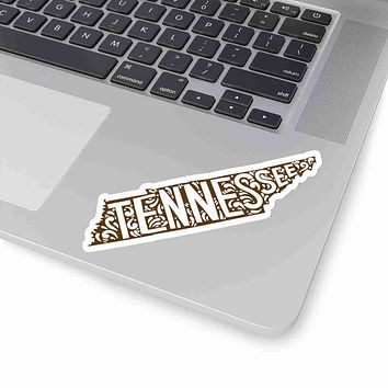 Tennessee State Shape Sticker Decal - Brown