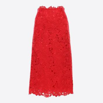 Valentino Straight Guipure Rebrodé Skirt, Skirts for Women - Valentino Online Boutique