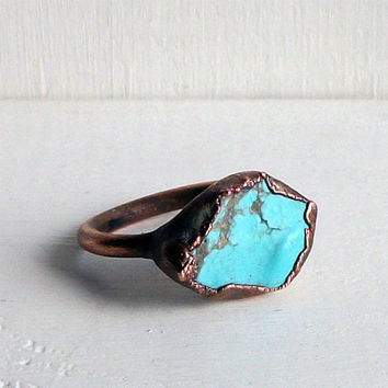 Raw Turquoise Ring Size 7 Ring Gemstone Birthstone Cocktail Ring December Copper Jewelry Robins Egg Blue