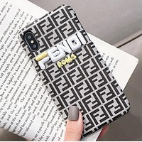 Fendi New fashion embroidery letter  more letter print leather case iphone protective cover phone case