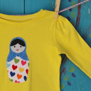 Children's Clothing Appliqued Tshirt with Nesting by OddEDesigns