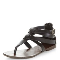 Black Leather Gladiator T-Bar Sandals