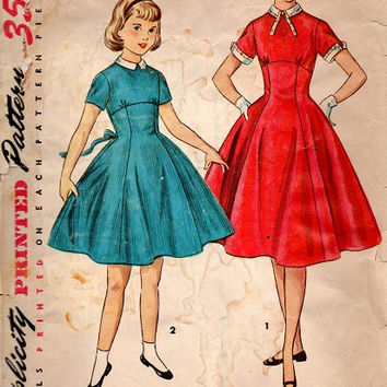Vintage 1950s Simplicity Sewing Pattern Girls Rockabilly Swing Tea Dress Full Circle Skirt Empire Waist Collar Cuffs Size 10