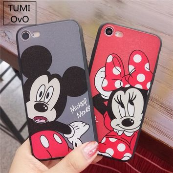 Cartoon Mickey Minnie Mouse Cute Lover Case For iPhone X 10 Case Soft TPU For iPhone 6 6s Plus 7 Plus 8 Plus Hard PC Cases