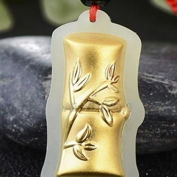 Natural White HeTian Jade + 18K Solid Gold Chinese Cute Bamboo Lucky Amulet Pendant + Free Necklace Fine Jewelry Certificate