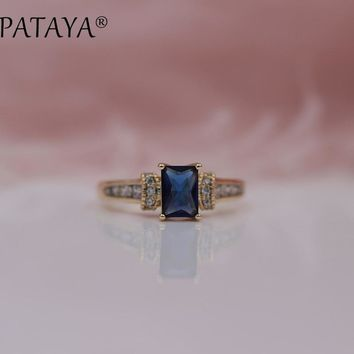 PATAYA New Arrivals Dark Blue Square Natural Zirconia Rings Women 585 Rose Gold White Wedding Classical Party Jewelry 2Colors