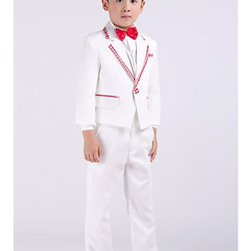 Four Pieces White Ring Bearer Suit Boys Tuxedo