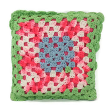 Vintage Crocheted Decorative Throw  Pillow, Green, Pink, Blue, White, Bedding, Home Decor,Housewarming Gift, Kitsch Home, Neon Hot Pink