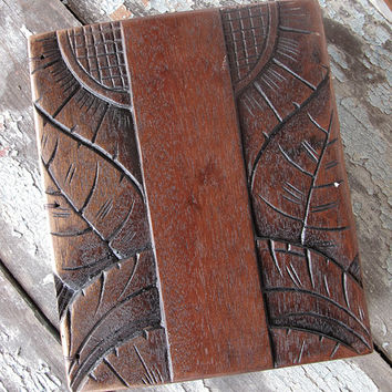 Guest book Diary Blank book Dark wood Engraved Blue