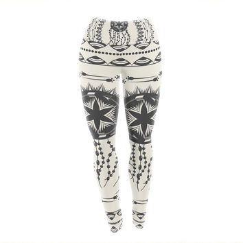 "Famenxt ""Bohemian Dream Catcher Boho"" Black Beige Yoga Leggings"