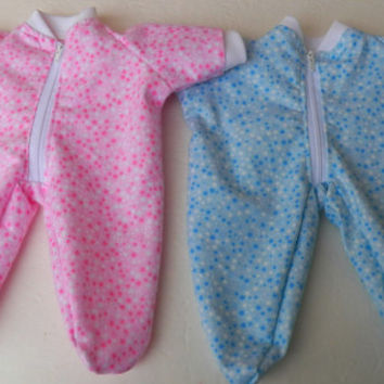 "bitty baby clothes Twins Boy Girl Matching 15"" Doll  Blue & Pink Star Zip Up Feetie Pajamas Pjs Sleeper Sets"