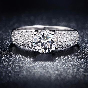 Vintage Wedding Engagement White Gold Plated AAA Zircon Ring