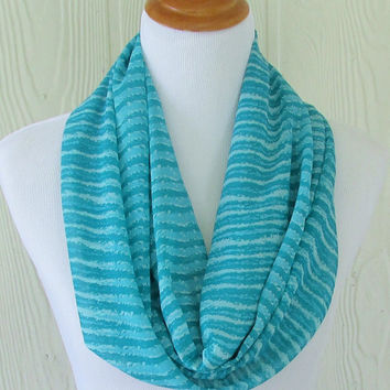 Teal Stripes Infinity Scarf, Women's Chiffon Scarf, Circle Scarf, Loop Scarf, Tube Scarf , Women's Scarves, Eclectasie