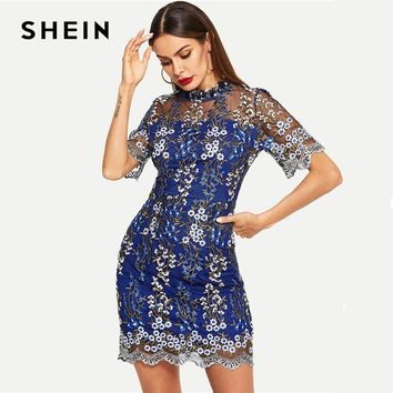 SHEIN Blue Contrast Mesh Floral Dress Short Sleeve Stand Collar Slim Going Out Modern Lady Elegant Party Women Dresses