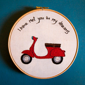 Red Retro Vespa - I have met you in my dreams - Embroidery illustration - Gift for him - Retro thread drawing - Embroidery Art wall hanging