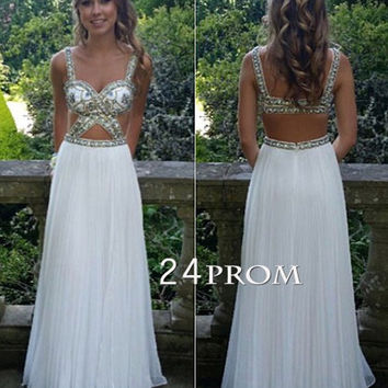 White A-line Sequin Backless Long Prom Dress, Formal Dress