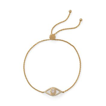14 Karat Gold Plated CZ Evil Eye Friendship Bolo Bracelet