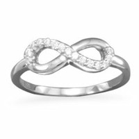 Sterling Silver CZ Lined Classic Infinity Ring