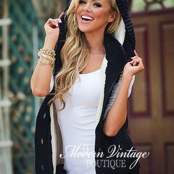 Intricate Hooded Button Up Vest Midnight Navy