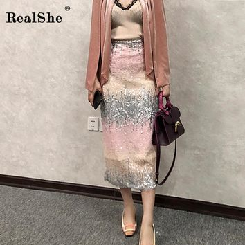 RealShe Women Skirt Summer Elastic Waist Sequins Pencil Skirts Womens Patchwork Ruffles Jupe Femme 2019 Pencil Skirt High Waist