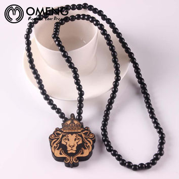 Lion Head Good Wood Necklace