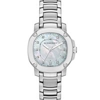34mm Octagonal Stainless Steel Watch with Mother-of-Pearl & Diamonds