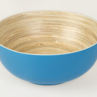 Coiled bamboo footed serving bowls, blue
