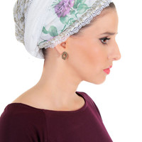White head scarf – Head wrap – Hair snoods – Floral tichel