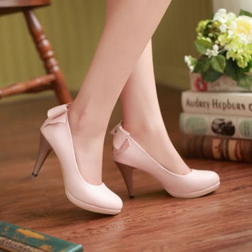 Fashion Pointed Toe Closed Stiletto High Heel Pink PU Basic Pumps