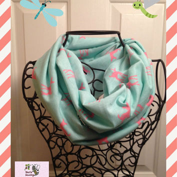 Fawn Pink on Aqua Mint Infinity Scarf Child or Adult Size