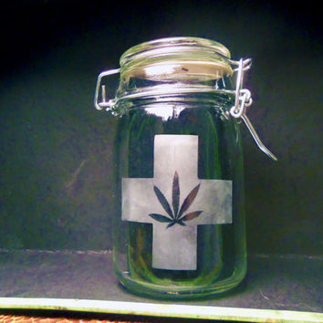 Weed Stash Jar Cannabis Container Medical Marijuana Cross Bong Ganja Hemp Hippy MMJ Colorado California Custom Etching Available
