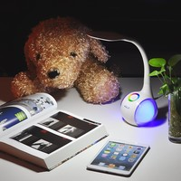 Saicoo LED Desk Lamp with Multi-Colored Night Light, 3-Level Dimming, Touch-Sensitive Control, Flexible Angles, Comes with a Dual-USB Port Power Adapter