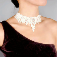 SALE gothic blue/black/white lace choker necklace - victorian vintage steampunk gift