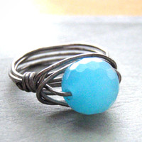 Aqua Sterling Silver Wire Wrapped Ring