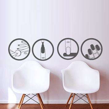 Nails wall decal decor decals art salon from for Stickers design salon