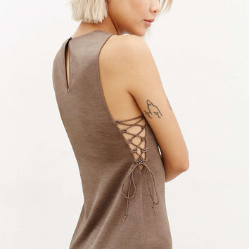 Silence + Noise Satin Lace-Up Midi Dress - Urban Outfitters