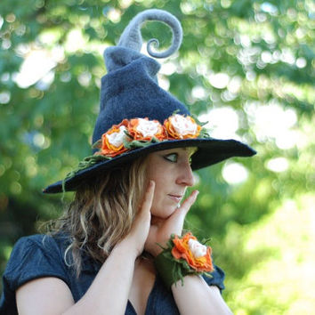 CUSTOM made adorable witch hat with flowers