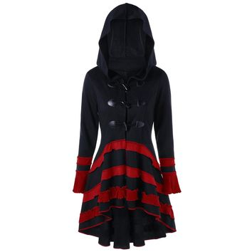 ZAFUL Gothic Vintage Women Long Coats A Line Lace up Criss-Cross Hooded Blends Buckle Duffle Rockabilly Casual Feminino Outwear