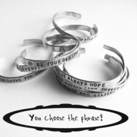 personalized silver bracelet hand stamped aluminum bracelet custom text
