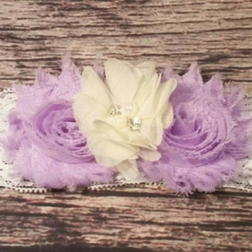 Baby Girl Headband! Beautiful Purple and Cream Chiffon Lace -Newborn Headband-Infant Headband-Lace Headband-Hair Band-Hairbands - Girls Hair