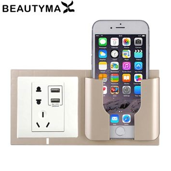 Home Decoration Wall Holder Phone Charging Holder Socket Charger Storage Box Mobile Phone Holder Universal Stand Display Support