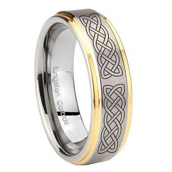 10MM Step Edges Celtic Knot 14K Gold IP Tungsten Two Tone Men's Ring